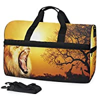 Buyxbn Lion Sunset Sports Gym Duffel Bag with Shoe Compartment Extra Large Weekend Travel Pro Training Holdall for Men Women Unisex 35-40 L