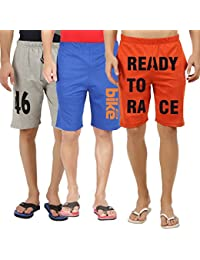 Hotfits Men's Multi-Coloured Graphic Cotton Shorts-gr46-rbbike-orgr2r