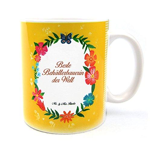 Mr. & Mrs. Panda Tasse Design Frame Happy Girls Ich bin Behälterbauerin - Beruf Berufe Ausbildung Abschluss Berufsausbildung Geschenk Schenken Studium Diplom Bachelor Berufsschule Gratulation Danke Bedanken Dankeschön Tasse Kaffeetasse Kaffee (Frame Ich Bin)