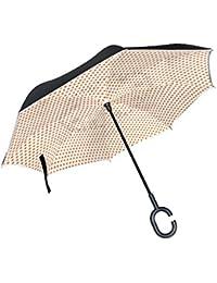 ALAZA La Prueba de Doble Capa Paraguas invertido Coches inversa Paraguas a Prueba de Viento único Lunar de UV Viaje Paraguas al Aire…