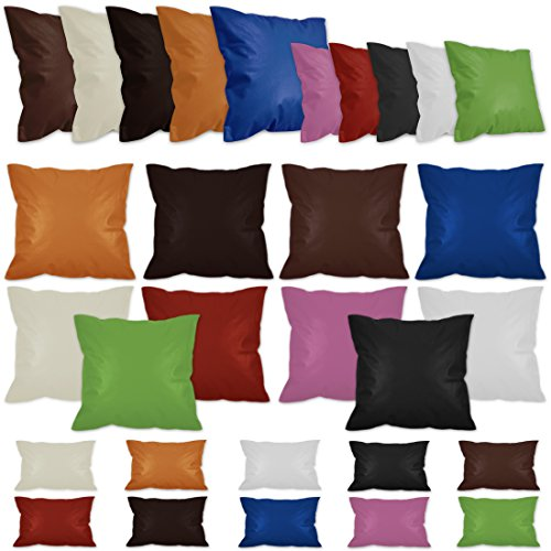 Nurtextil24 Lederimitat Kissenbezüge in 10 Farben & 10 Größen mit Reißverschluss Kunstleder Kissenbezug Schwarz 30 x 30 cm (Kissenbezug Leder)