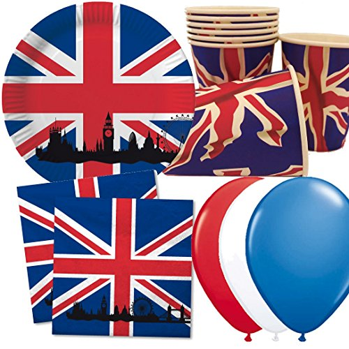 Carpeta 40-tlg. Party-Set * GROSSBRITANNIEN & UNION JACK * mit Pappteller + Servietten + Pappbecher + Deko | Teller Becher Luftballons Geschirr UK GB England London Big Ben - England London
