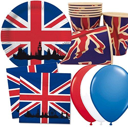 Carpeta 40-tlg. Party-Set * GROSSBRITANNIEN & UNION JACK * mit Pappteller + Servietten + Pappbecher + Deko | Teller Becher Luftballons Geschirr UK GB England London Big Ben - London England