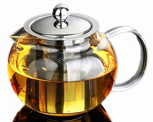 650 ml verre soufflé Théière avec infuseur amovible en acier inoxydable