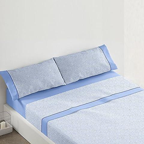 Burrito Blanco - Juego de sábanas 442 para cama 135x190/200 cm, color azul