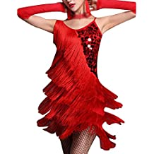 Señoras Vestido Latino Danza Baile Borla Largas Lentejuelas Latina Vestido