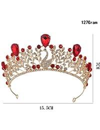 ZANHUI Vintage Lusso Corona Sposa Lega Blu Rosso Strass Sposare Barocco  Regina Golden Crown Accessori 7e0282be3841