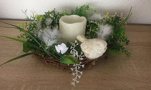 Kranz Dekokranz mit LED Beleuchtung LED Kerze Ø 22 cm mit Vogel Frühling Sommer Winter Blumenkranz Dekoration