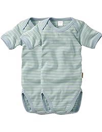 wellyou, 2er Set Kinder Baby-Body Kurzarm-Body, hell-blau neon-gelb gestreift, geringelt, für Jungen und Mädchen, Feinripp 100% Baumwolle, Größe 50-134