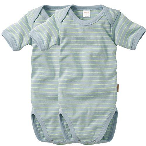 wellyou, 2er Set Kinder Baby-Body Kurzarm-Body, hell-blau neon-gelb gestreift, geringelt, für Jungen und Mädchen, Feinripp 100% Baumwolle, Größe 80 - 86