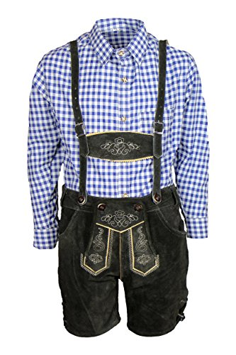 MS-Trachten Trachtenset Kinder Lederhose Trachtenhose mit Hemd (164, blau-kariert)