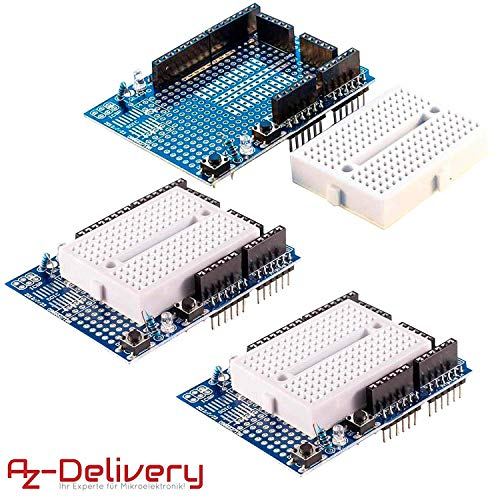 AZDelivery ⭐⭐⭐⭐⭐ 3 x Prototyping Prototype Shield Mini Breadboard für Arduino UNO R3