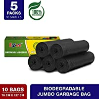 Ezee Bio-degradable Jumbo Garbage Bags/Trash Bags/Dustbin Bags (30 X 50 Inches) Pack of 5 (50 Pieces) 10 Pcs Each Pack
