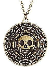 Collar unisex con calavera de Jack Sparrow (Johnny Depp) de «Piratas del caribe» y diseño con tallado azteca de color oro y bronce