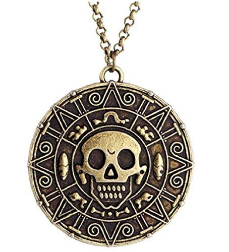 Inception Pro Infinite Piraten der karibischen Halskette Johnny Depp Color Bronze - Gold Skull Aztec Knochen des Cortez Jack Sparrow (Sparrow Medaillon)