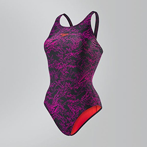 Speedo Boom Allover, Bañador para Mujer, multicolor (Negro/rosa eléctrico (Lava Red Liner And Branding)),ES: 40 (Talla del manufacturier: 34)
