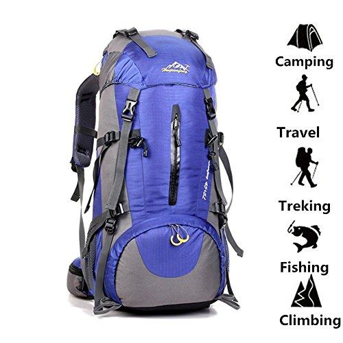Imagen de  impermeable 50l  con cubierta de lluvia para deportes al aire libre senderismo trekking camping viajes montañismo escalada aventura azul