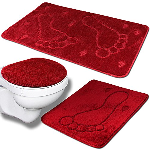 TW24 Badvorleger - Duschmatte - Badezimmer-Set 3tlg Mono Fuß - Farbauswahl (rot)