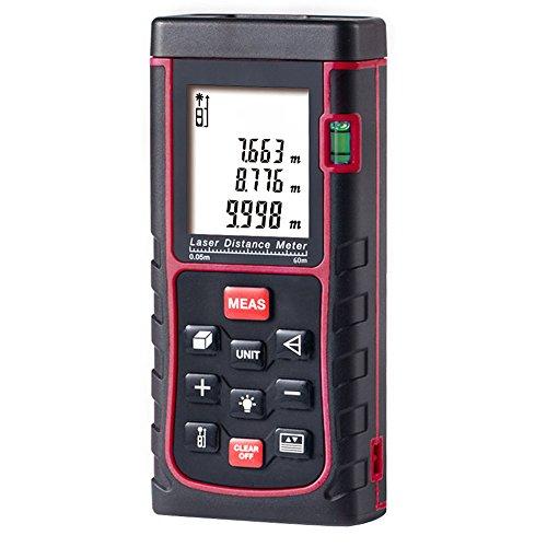 Preisvergleich Produktbild GRDE® Laser Entfernungsmesser mit Distanz & Winkelmessung, Bereich & Volumenberechnung Distanzmesser mit M/In/Ft ((0.05 bis 60m))