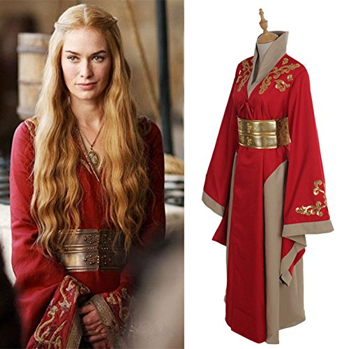 Cersei Kostüm (Vivian Queen Cersei Lannister Red Luxus-Kleid Game Of Thrones Cosplay Costume Cosplay Kostüm,Größe M:(160-165)