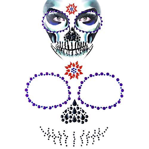 esicht schmuck Mode lustige Strass Tattoo Gesicht edelstein juwel Aufkleber ()