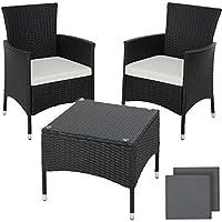 TecTake Poly rotin set de jardin | 2 chaises et petite table à plateau en verre | Châssis robuste en acier - diverses couleurs au choix - (Noir | No. 402862)