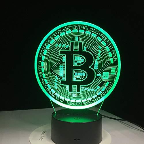 wangZJ 3d Lampe Optische Täuschung/led Nachtlicht / 7 Farben Lampen / 3d Led Lampe/dekor Nachtlicht /Bitcoin