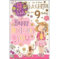 Daughter 9th Birthday Card with Badge -