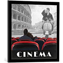 """Cuadro con marco: Marco Fabiano """"Cinema Roma"""" - Impresión artística decorativa con marco de alta calidad, 60x60 cm, Negro / canto gris"""