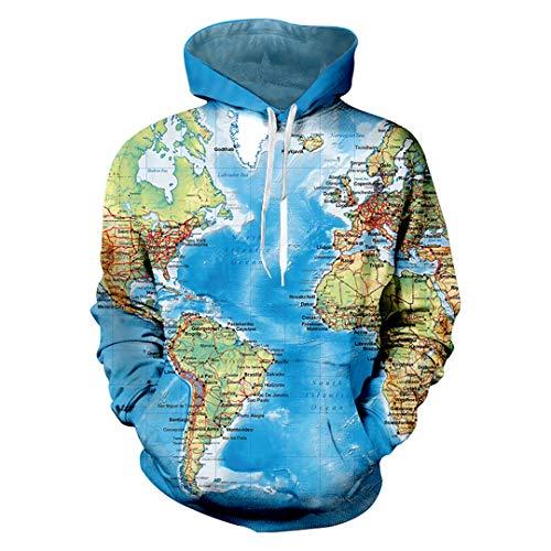 W-WORDEW Weltkarte 3D Lustige Hoodies Sweatshit Retro Kleidung MäNner Pullover Unisex World Map Blue 6XL