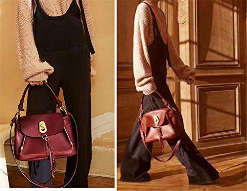 Xinmaoyuan Borse donna borsa donna in pelle Borsetta tracolla flusso di cucitura pacchetto Sutot Large-Capacity retrò sezione orizzontale colore puro Pallet sacchetto,blu Vino rosso