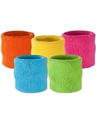 suddora Muñequeras–Athletic algodón de rizo Muñequera para Deportes, rosa neón