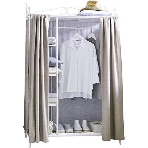 Metall Kleiderschrank Garderobe Breezy ? mit Kleiderstange und Ablageflächen für Kleidung & Schuhe - hochwertige Stoff-Verkleidung - 109 x 57 x 171 cm ? Taupe Weiß
