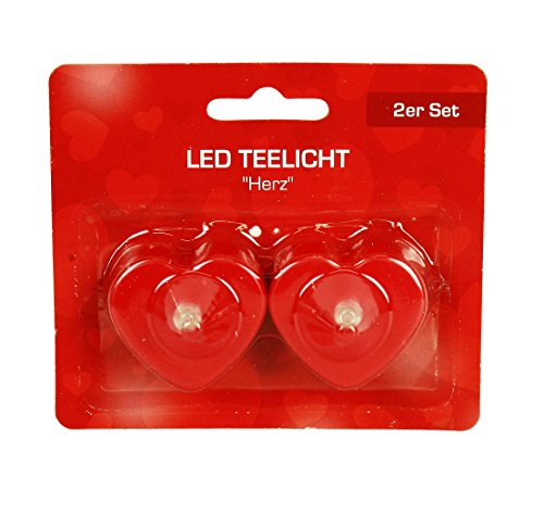 HAAC 2er LED Teelicht Herz Ledlampe Ledkerze Kerze Leuchte Herzlampe rot 4 cm