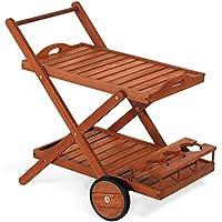 Carro de servicio, carrito de madera de 77x 85x 59cm mod. Ginepro, carrito bar de madera con ruedas traseras, doble estante y botellero, carrito de servicio de madera, carro jardín de keruing