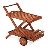 Carro de servicio (carro de madera 77x 85x 59cm Mod.Enebro, carrito bar de madera con ruedas traseras, doble estante y botellero, carrito de servicio (madera, Carro Jardín de Keruing.