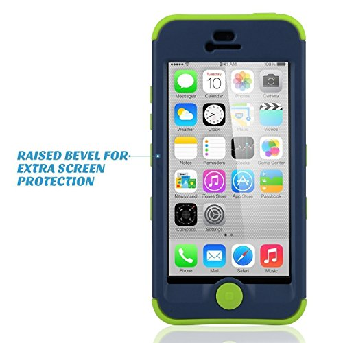 ULAK - Cover iPhone 5C, iPhone 5C Custodia ibrida a protezione integrale con parte esterna in 3 strati di morbido silicone e interno rigido cover per iPhone 5C, Nero E-Blu + Verde