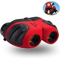 Prismáticos infantiles para niños, mini compactos 8 x 21 prismáticos de goma para observación de pájaros y fauna silvestre (Rojo)