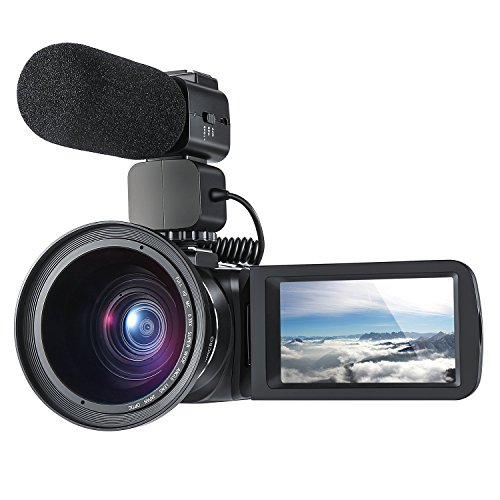 Videokamera ORDRO WiFi Digital Camcorder Full HD 1080P 30FPS 24MP 16x Digital Zoom Videokamera mit Externem Mikrofon und Weitwinkelobjektiv H.264