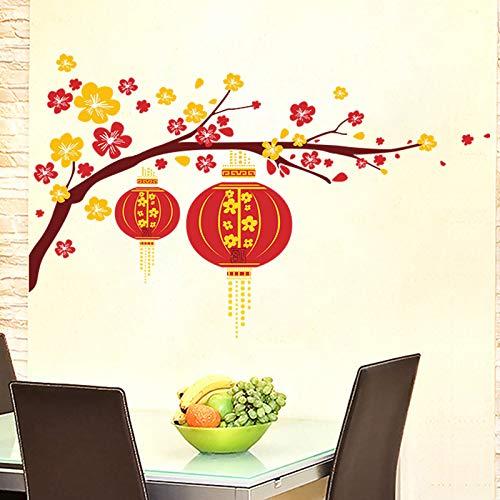 (Chinesische Blume Laterne Pflaume Zweig Frohes Neues Jahr Wandaufkleber Aufkleber Kunst Wohnzimmer wandaufkleber wohnkultur aufkleber dekoration)