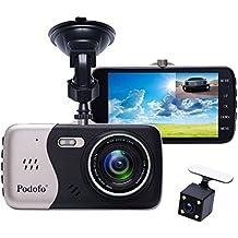 """In-Car Dash Cam, Podofo® Dual Lens Full HD 1080P Caricabatteria frontale e posteriore DVR Driving Recorder 170 ° Wide Angle 4.0 """"IPS Screen Dashboard Built-in Visione notturna / WDR / G-Sensor / Modalità di parcheggio / Motion Detection / Loop Recording"""