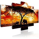 decomonkey Bilder Afrika 200x100 cm XXL 5 Teilig Leinwandbilder Bild auf Leinwand Vlies Wandbild Kunstdruck Wanddeko Wand Wohnzimmer Wanddekoration Deko Elefant Tiere Baum