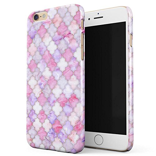 Marokkanische Henna-design (iPhone 6 / 6s Hülle, BURGA Licht Pink Rosa Marokkanisch Fliesen Marmor Muster Marble Mosaik Dünn, Robuste Rückschale aus Kunststoff Für iPhone 6 / 6s Handyhülle Schutz Case Cover)