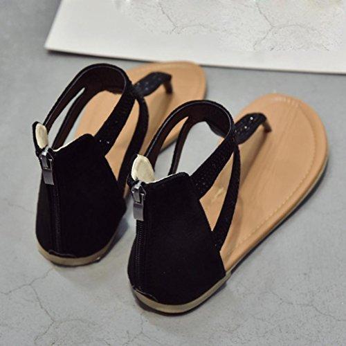 7ea384461 OHQ Fashion Women Diamond Zipper Gladiator Low Flat Flip Flops ...