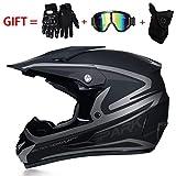 YYCC-helmet Casco Moto Casco Cross Country D.O.T Sicurezza Certificazione Endurance, con oculari/Guanti/Maschera,L(58cm~59cm)