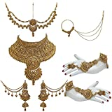 #7: Lucky Jewellery Bridal Golden Color Alloy Gold Plated Wedding Jewellery Set For Girls & Women