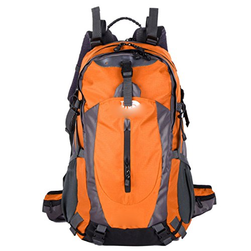 40L Großer Camping Rucksack Wandern Daypack Reise Rucksack Casual Rucksack Tasche,SkyBlue Orange