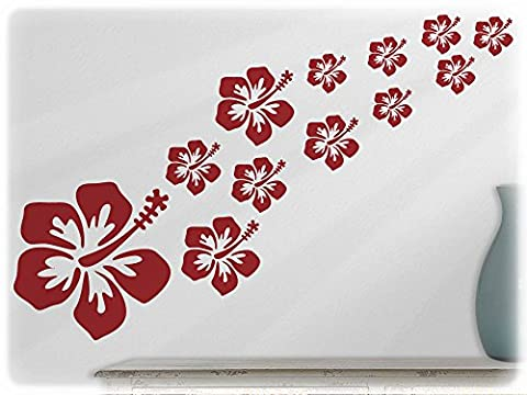 wallfactory - wall decal - 16 beautiful Hibiscus flowers in dark red