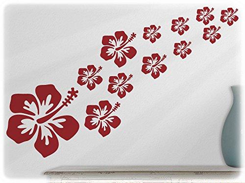 wandfabrik - Wandtattoo - 16 schöne Hibiscus blüten in dunkelrot (Japanische Motorräder Vintage)