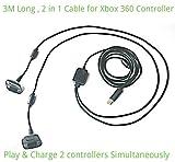 2 in1 3M Long USB Play et Chargeur Câble pour Xbox 360 Pad Contrôleur Manette manette Manette de jeu By AirBot